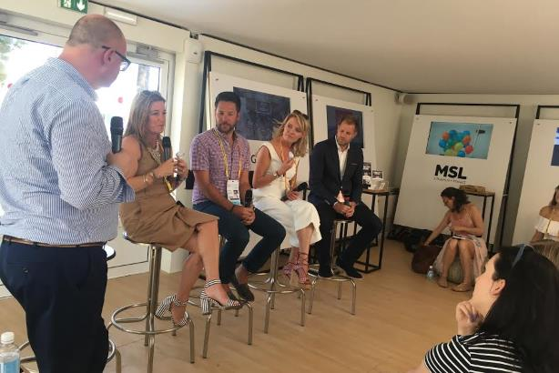 L-R: PRWeek editor-in-chief Steve Barrett, Dropbox's Carolyn Feinstein, Pinterest's Eric Edge, Hilton's Geraldine Calpin, and Microsoft's Scott Allen