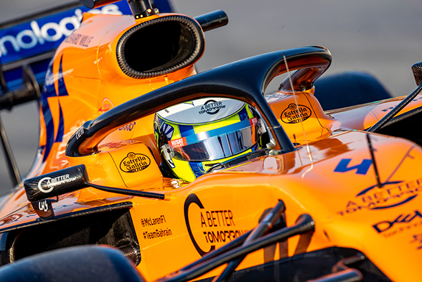 Lando Norris of McLaren pictured in February at the Montmelo circuit in Spain (Pic credit: Javier Martinez de la Puente / SOPA Images/Sipa USA)