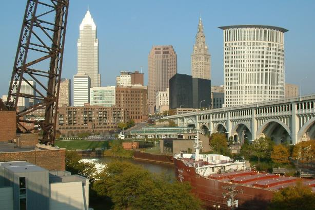 A view of downtown Cleveland, Ohio. (Image via Wikimedia Commons, CC BY-SA 2.5).