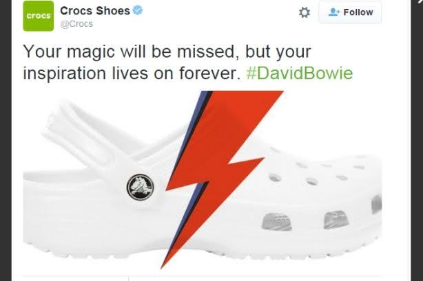 a3d8b76c2fb4 Crocs has bowed to teasing it received after posting a tweet in tribute to  late music legend David Bowie