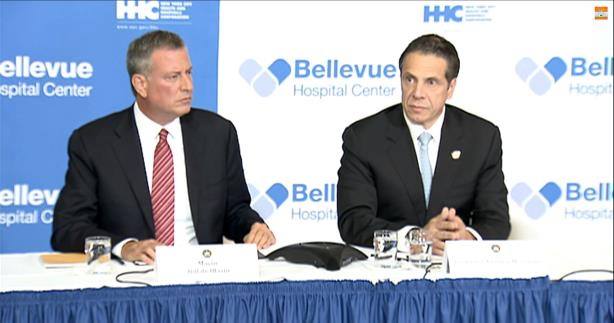 New York City Mayor Bill de Blasio (l) and New York Governor Andrew Cuomo