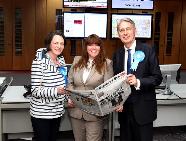 Diane Davies, centre, pictured with Sarah Macken, Conservative party candidate for Wolverhampton North East, and Philip Hammond, Chancellor of the Exchequer, in June 2017 (pic credit: Express & Star)