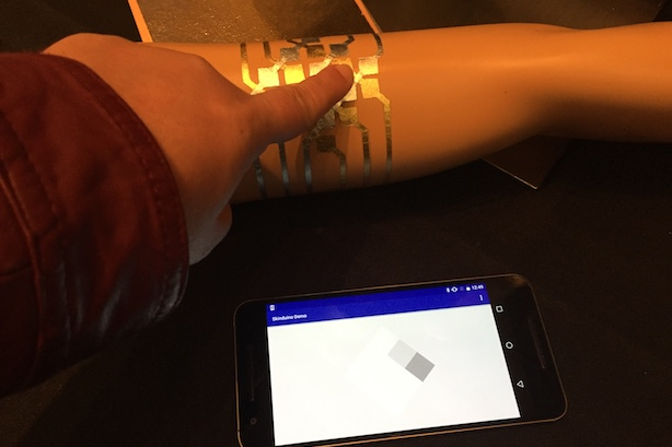 The DuoSkin technology, on display at SXSW Interactive. (Photo credit: Jennifer Hayoun)