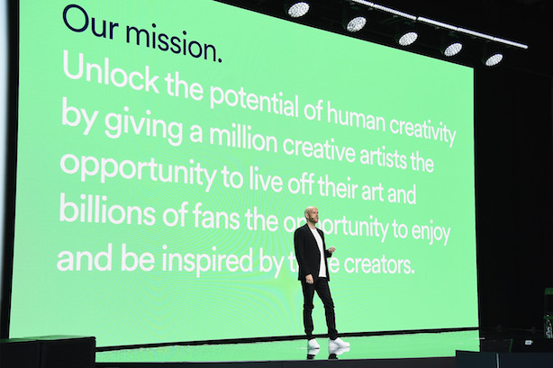 (Spotify CEO Daniel Ek at the company's investor day. (Photo credit: Getty Images)