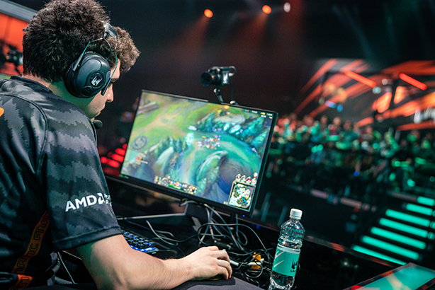 An esports player focuses during tournament play. (Photo courtesy of Riot Games)