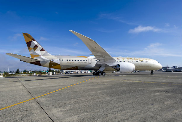A Boeing 787 flown by Etihad