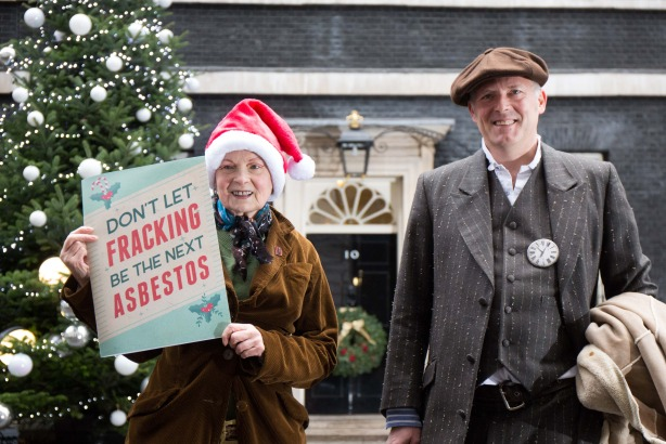Talk Fracking: Vivienne Westwood and her son Joe Corre outside Downing Street