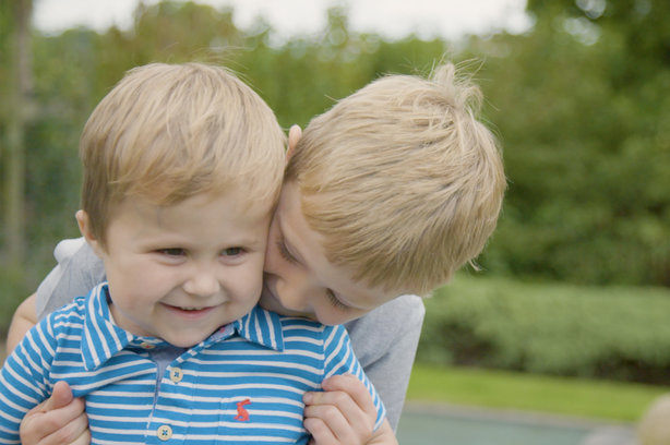 Freddie (left) and Louie (right) share a hug in NHSBT's campaign film for Organ Donation Week