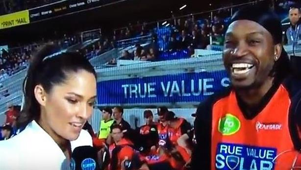 Mel McLaughlin's now infamous interview with Chris Gayle (screen grab, source Channel 10)