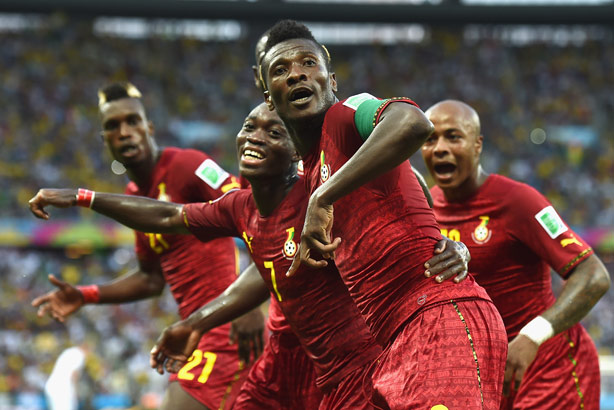 Ghana: Asamoah Gyan, who has no connection to the allegations, scores during the World Cup (Credit: Laurence Griffiths/Getty Images)