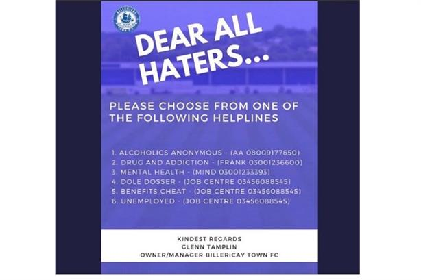 'Dear all haters': part of a deleted tweet posted by BTFC boss Glenn Tamplin