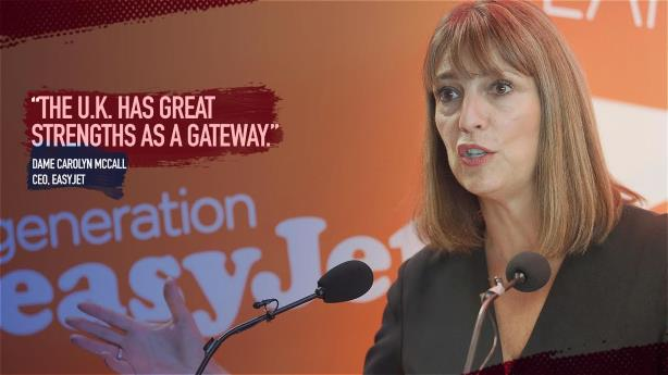 EasyJet CEO Carolyn McCall promotes the UK business environment.