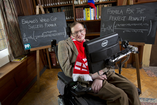 Professor Stephen Hawking has solved the mystery of England's World Cup success for Paddy Power