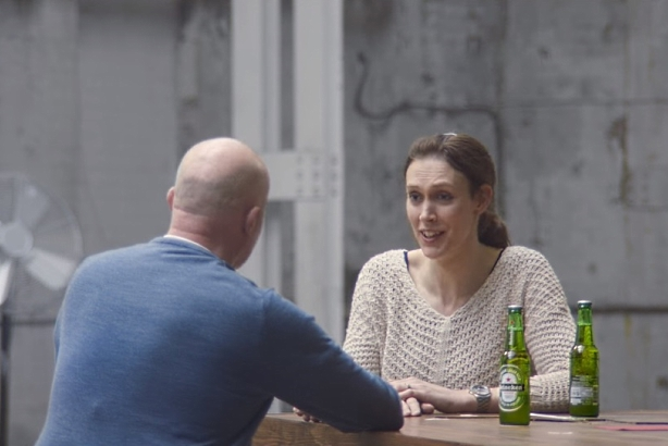 "Still from Heineken ""Worlds Apart"" ad (image via YouTube)"