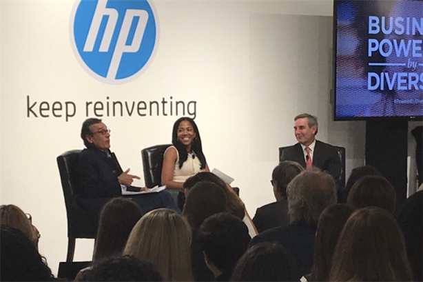 L to R: Antonio Lucio, CMO of HP; Lauren Wesley Wilson, president of ColorComm; Richard Edelman, CEO of Edelman. Photo credit: Fatima Bokhari