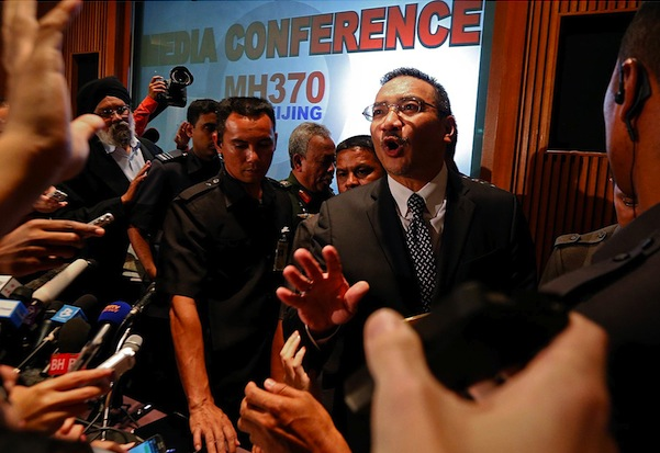 Former Malaysian transport minister Hishammuddin Hussein faces reporters in Beijing last year