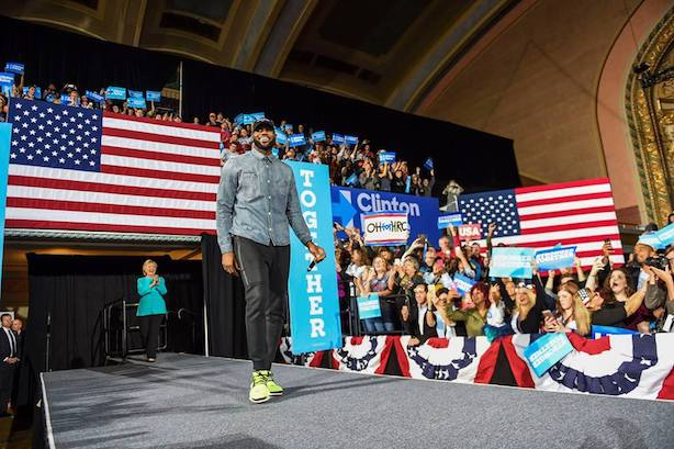 LeBron James campaigned for Hillary Clinton in Cleveland on Sunday. (Image via Facebook).