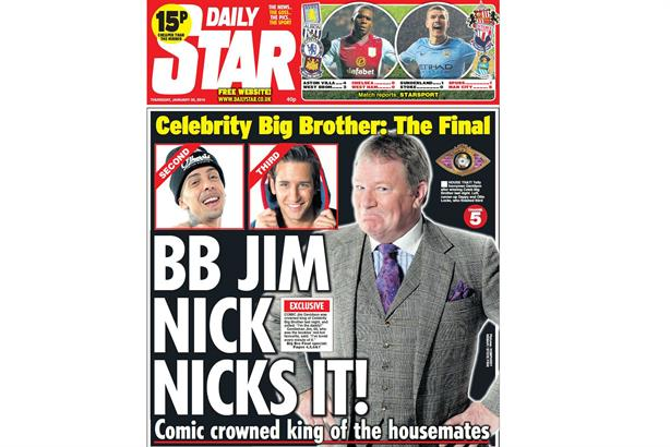 Front page news: Celebrity Big Brother winner Jim Davidson