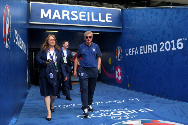 Joanne Budd and England manage Roy Hodgson at Euro 2016 (pic credit: Getty images)
