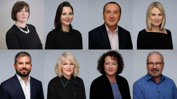 Clockwise from top left: Jo-ann Robertson, Deidre Murphy, Gavin Cooper, Kirsty Sachrajda, Neil McLelland, Kate Paxton, Susan Smith and new hire Jamie Robertson