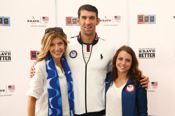 Gault (l) with serial medallist Michael Phelps and Konnect senior account executive Claire Grady