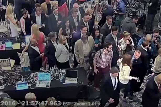 A screen grab from surveillance video released by police in Jupiter, Florida. Trump campaign manager Corey Lewandowski is shown bottom right (highlight added) with former Breitbart reporter Michelle Fields. Fields alleges that Lewandowski assaulted h