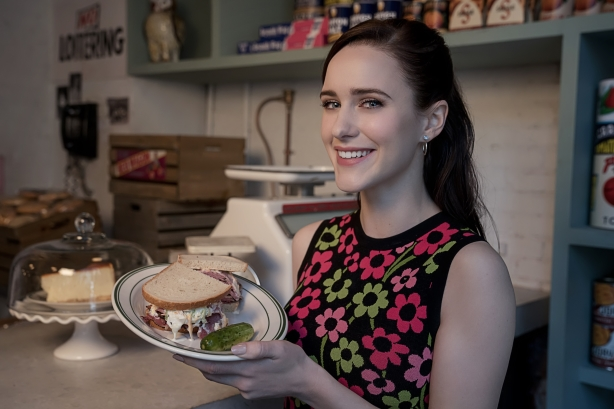 Actress Rachel Brosnahan, who plays the character of Miriam Maisel, stops by the deli.