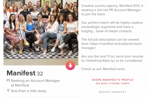Manifest New York is using Tinder to pick up a 'shit hot' PR account