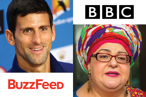Joint work: BuzzFeed and the BBC have run joint investigations into professional tennis and the charity Kids' Company, formerly run by Camila Batmanghelidjh (Credits: Aaron Favila/AP/Press Association Images for Djokovic, Dominic Lipinski/PA Wire/PA)
