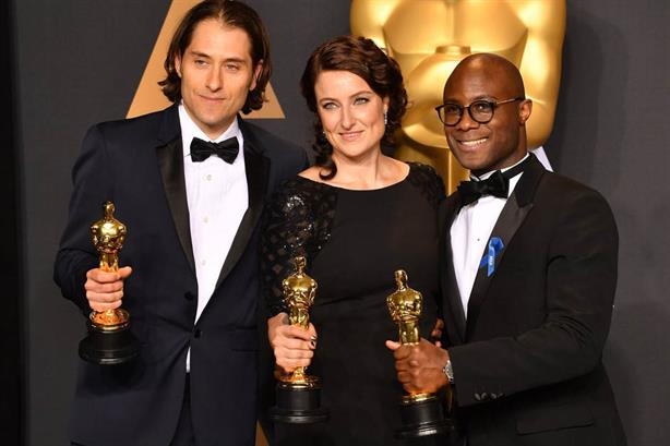 L-R: Moonlight producers Jeremy Kleiner and Adele Romanski, and director Barry Jenkins (Credit: Mike Baker/AMPAS)