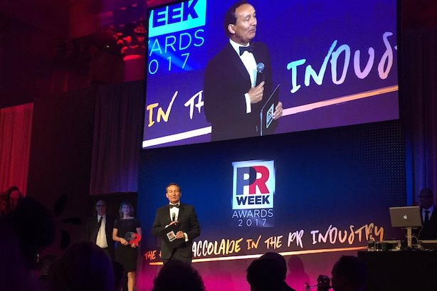 Communicator of the Year Oscar Munoz at the PRWeek Awards on Thursday night.