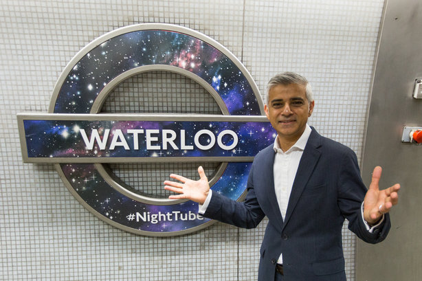 Sadiq Khan, the mayor of London, unveils the 'Night Tube', a project TfL's interns have worked on in recent years (©TfL)