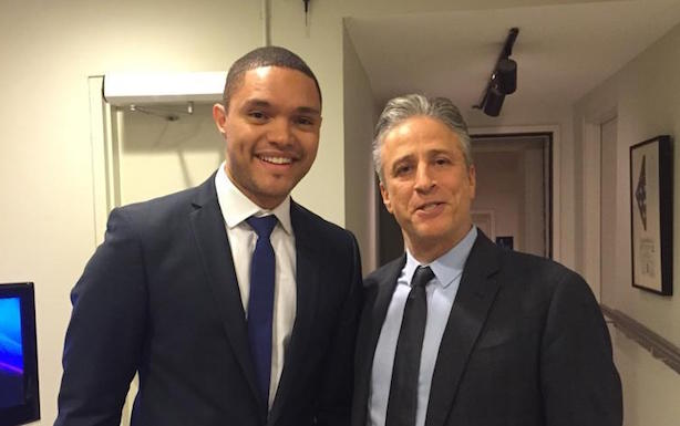 Trevor Noah and current 'Daily Show' host Jon Stewart.