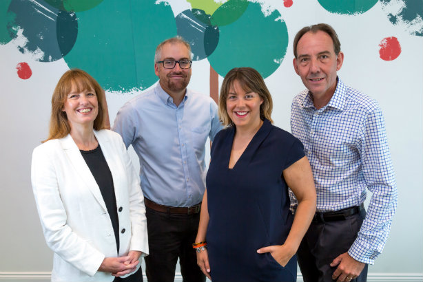 Orchard PR founders Lois and Steve Falla (far left and far right) with new owners Chris Chilton (second left) and Brooke Kenyon