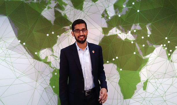 "Incoming Google CEO Sundar Pichai (""Sundar Pichai"" by Maurizio Pesce from Milan, Italia - Sundar Pichai, SVP, Chrome and Apps, Google. Licensed under CC BY 2.0 via Wikimedia Commons)"