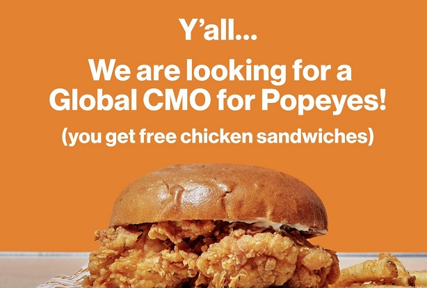 Popeyes uses free chicken sandwiches to lure new global CMO