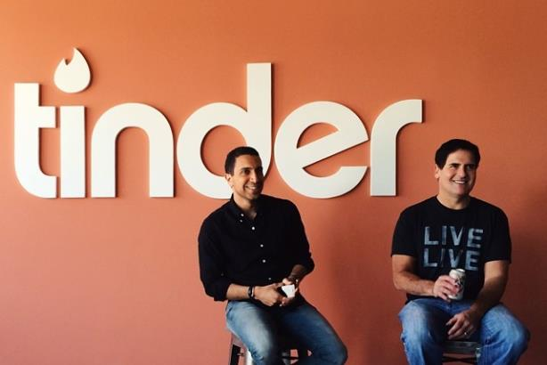 Rad (l) with Mark Cuban. (Image via Tinder's Facebook page).