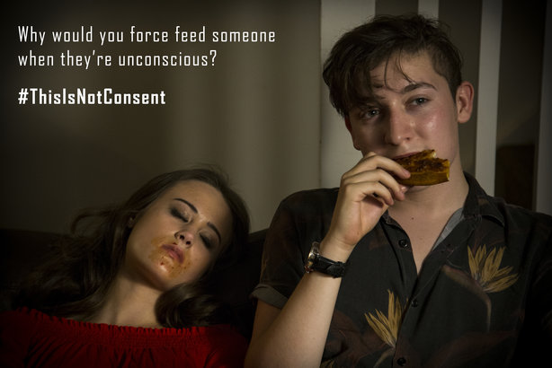 A still from one of the films in the #ThisIsNotConsent campaign