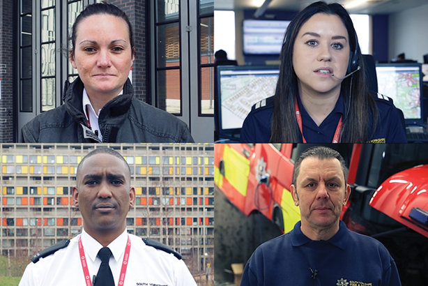 Some of the staff who feature in South Yorkshire Fire and Rescue's 'Our story' film