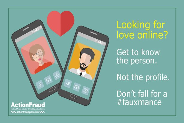 One of the images used by Action Fraud in its #fauxmance campaign