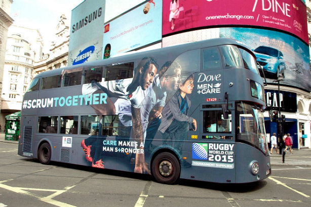 Dove's RWC work involves Twitter giveaways, Rudyard Kipling, buses and shower gels