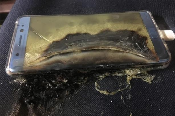 A fried Samsung Galaxy Note 7, which prompted the recall (source: YouTube).