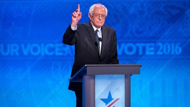 Bernie Sanders speaks to the Democratic National Convention on Monday night. (Image, cropped, via the DNC's Facebook page).