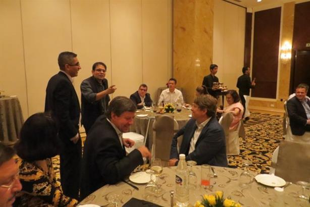 Sharif Rangnekar, director and CEO of Integral PR makes a casual welcome address at the networking dinner