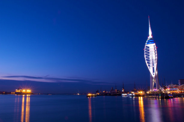 The Spinnaker Tower in Portsmouth in its usual nighttime livery