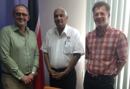 New brief: Fortitude's Paul Baverstock (left) and Robert Nuttall (right) with minister Winston Dookeran