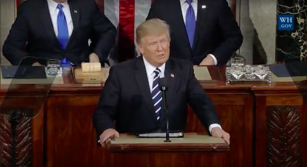 President Donald Trump addresses a joint session of Congress. (Screenshot via WhiteHouse.gov).