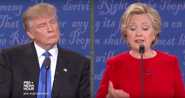 Donald Trump and Hillary Clinton square off for the third and final time tonight in Las Vegas. (Screenshot via PBS NewsHour's YouTube account).