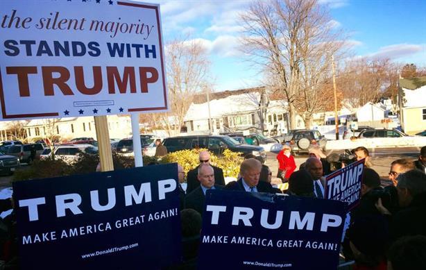 Donald Trump campaigns in New Hampshire. (Image via Trump's Facebook page).