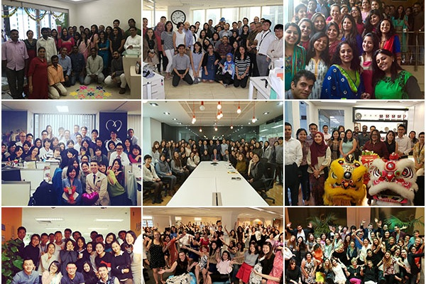 Weber Shandwick's APAC offices celebrating their Best Places to Work win